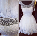 Beautiful Lace And Pearls White Short Cocktail Dress Modest Cap Sleeves Open Back Prom Party Gowns Robe De Soriee 2017