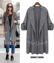 2016 European and American Big Yards Long Cardigan Women's Fashion Casual Windbreaker L88