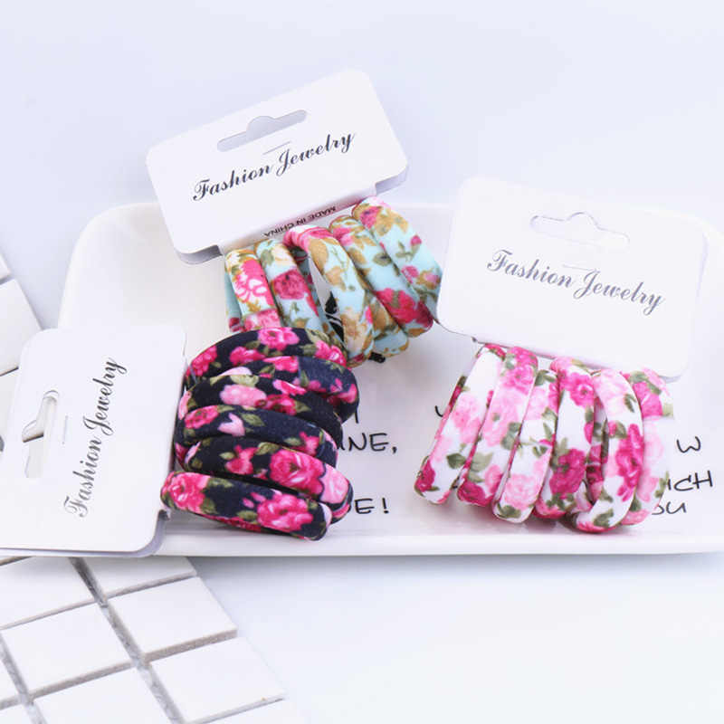 6PCS/Pack Popular Korean Cotton Print Leopard Flower Hair Ropes  High Elastic Headband Hair Bands Women Girls Hair Accessories