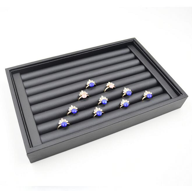 Hot selling Luxury Jewelry Display Velvet Slots Earrings Rings Tray Organizer Holder Case Box Free Shipping 5 Colors in Jewelry Packaging Display from Jewelry Accessories