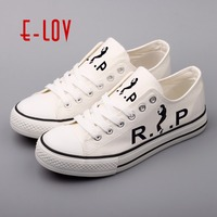 E LOV Brand Canvas Walking Shoes Men Printed Michael Jackson Rock Stars Casual Flat Shoes Plus