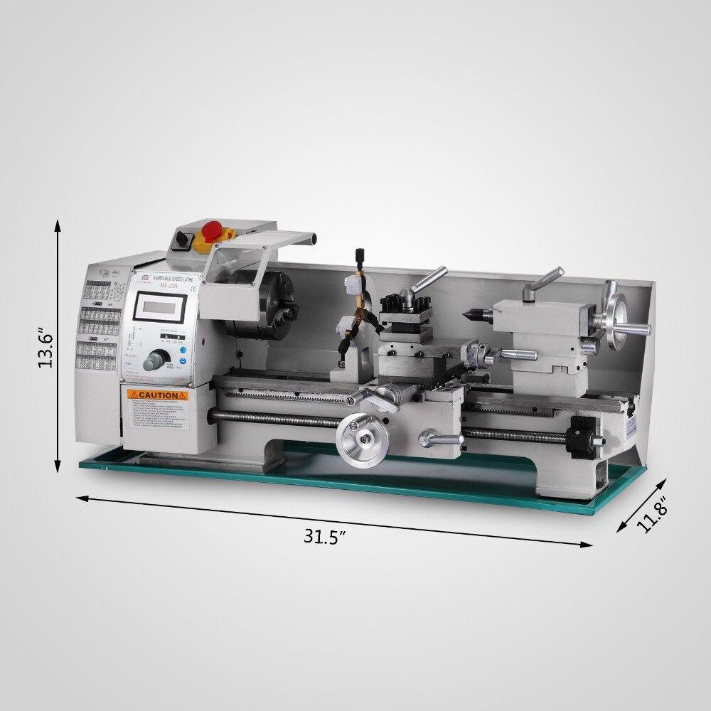 8x16 variável-velocidade mini metal torno bancada parte superior digital rpm 750 w