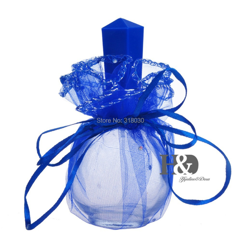 Free shipping Glass Empty Perfume Bottles with Decorative Blue Lace Fragrance Atomizer Spray Refillable Bottle