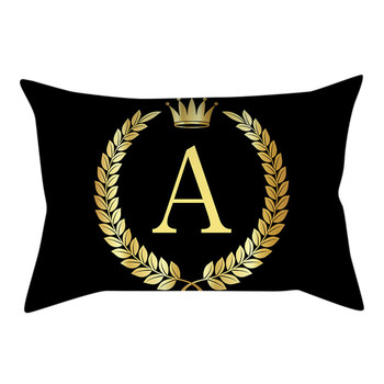 Black And Gold Letter Casual Cushion Cover Pillow Case