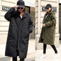 2018 горячее зимнее пальто в стиле милитари с капюшоном, модное утепленное пуховое хлопковое пальто, женская длинная куртка ветровки, женская...