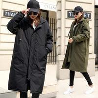 2018 Hot Military Winter Coat Hooded Fashion Oversize Thicken Down Cotton Coat Women Long Windbreaker Jacket Women Outerwear X17