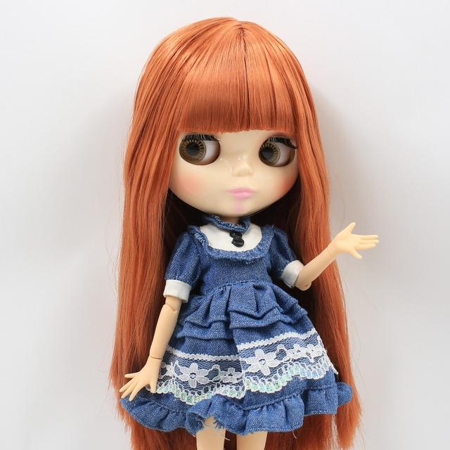 I-TBL Neo Blythe Doll Red Brown Izinwele Ezihlanganisiwe
