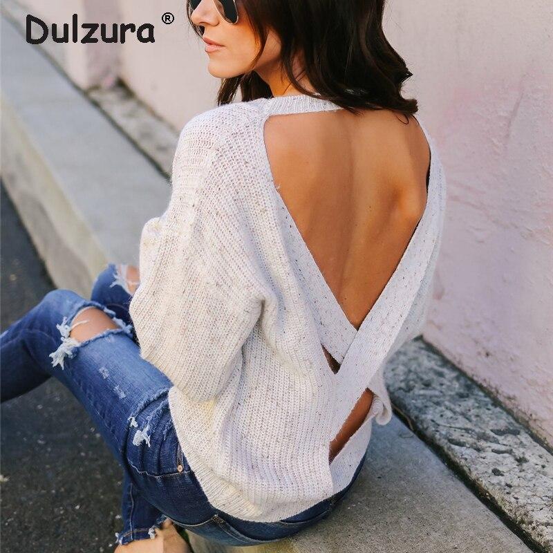 最終割引 Dulzura Stop118 セクシーな背中十字ジャンパーセーター女性バットウィングスリーブ特大女性セータープルオーバーカジュアルルーズニットプルファム