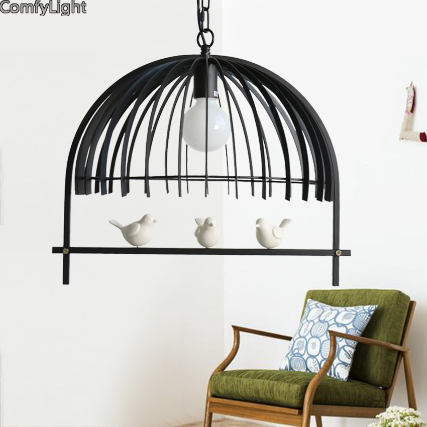 Lamp kitchen with bird fishing line modern dining pendant light vintage suspension loft decor nordic lighting modern black lamp 2016 vintage industry modern brief lustre loft sky garden personalized fashion pendant lamp for home decor lighting black 40cm