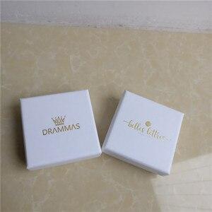 Image 4 - 100 יח\חבילה תכשיטי קופסות מתנה לבן מותאם אישית אריזת קופסא עם לוגו טבעת שרשרת צמידי עגיל מתנת אריזה תיבה