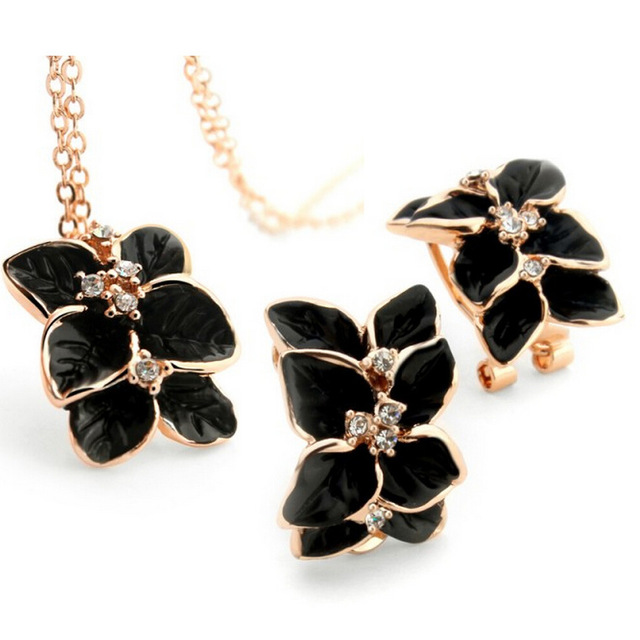 Female high grade flowers suit black rose pendant necklace female high grade flowers suit black rose pendant necklace earrings women bride wedding jewelry aloadofball Gallery