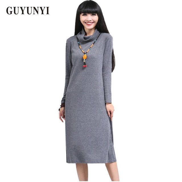 b997838a6 2017 Spring Autumn Ladies Fashion Office Dress Long Sleeve Turtleneck  Dresses Knitted Cotton Dress Plus Size