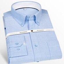 ผู้ชายแขนยาวOxfordปุ่มลงCasualเสื้อPatchกระเป๋าClassic Standard Fit Cottonหนาเสื้อ