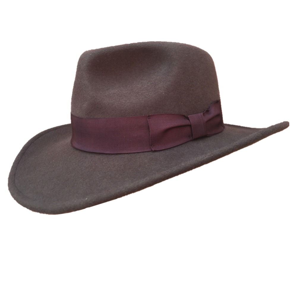 72f5f278a US $39.9 |Wool Felt Brown Fur Crushable Cowboy Fedora Hats Indiana Jones  Outback Hat-in Men's Cowboy Hats from Apparel Accessories on Aliexpress.com  | ...
