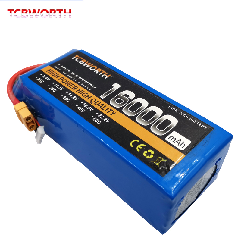 RC Airplane <font><b>LiPo</b></font> Battery <font><b>4S</b></font> 14.8V <font><b>16000mAh</b></font> 25C For RC Airplane Whirlybird Drone Car Boat RC Toys Batteries <font><b>LiPo</b></font> <font><b>4S</b></font> 16Ah AKKU image
