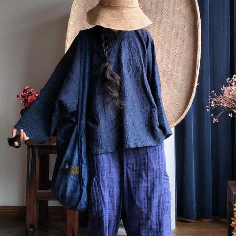 La Uswmie Joker Bouton Irrégulière Tops Hem Brodé style 3 Vintage Confort Blouse Oblique 2018 Chemises Style Couleur style 1 Femmes Taille Unie Plus 2 eordCBxW