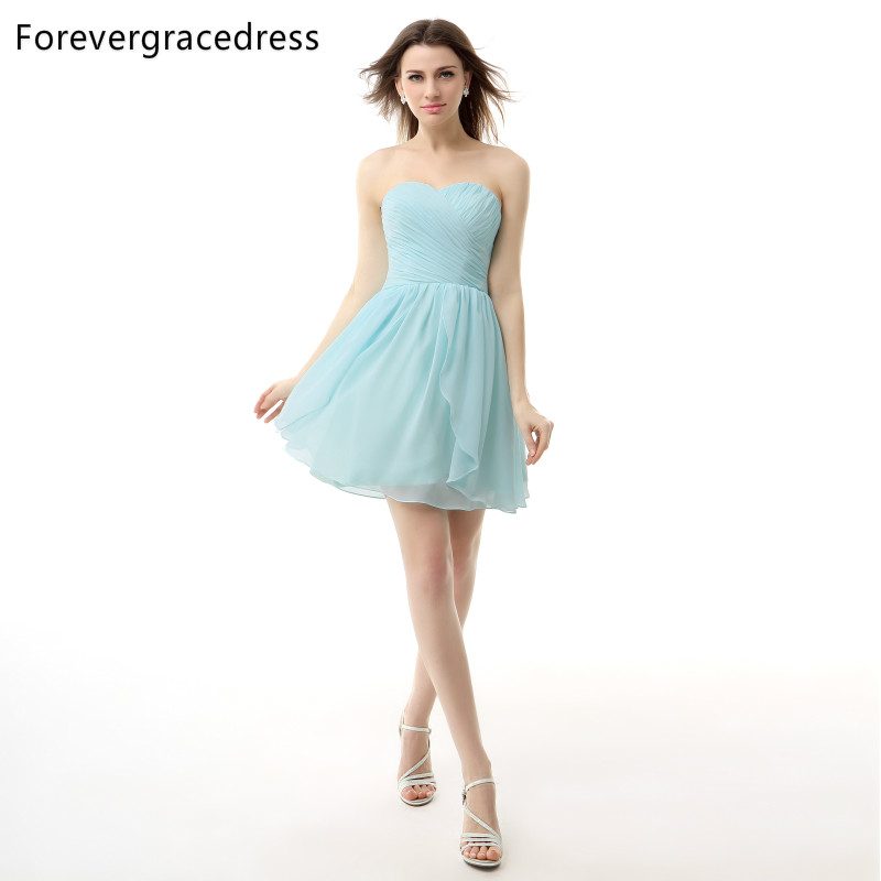 Forevergracedress 2018 Light Blue Backless Cocktail Dress Chiffon Sweetheart Ruched Short Party Gown Plus Size Custom Made