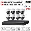 Kit de cámara CCTV de Seguridad DH 16POE 4 K NVR4216-16P-4KS2 8 piezas cámara IP IPC-HDBW4433R-ZS P2P sistema de vigilancia fácil de instalar