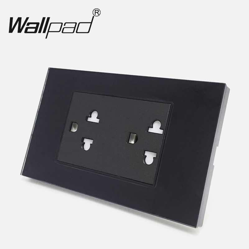 Luxury Wallpad 120mm*72mm 15A Australia New Zealand Standard Black Tempered Double Wall Socket Power AC 110V-250V Free Shipping new arrival wallpad brown leather frame 110v 250v hotel 3 pin 16a australia new zealand air condition electric socket free ship