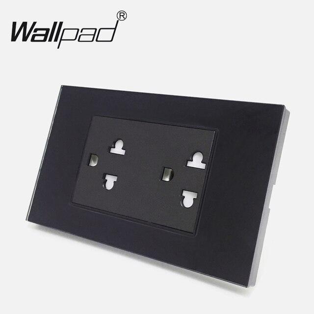 Wallpad de luxe 120mm * 72mm 15A australie nouvelle-zélande Standard noir trempé Double prise de courant AC 110 V-250 V livraison gratuite