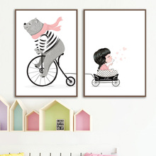 Cartoon Bear Girl Basket Cart Wall Art Canvas Painting Nordic Posters And Prints Animal Pictures Kids Room Decor