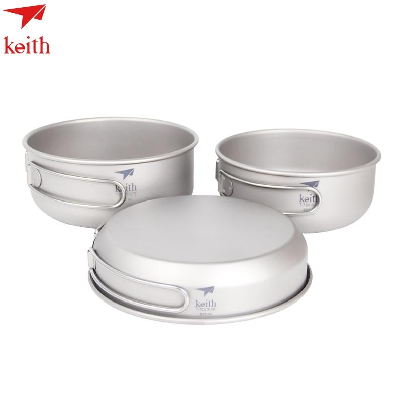 Keith 3PCS Titanium Pot set Portable Cookware Frying pan Titanium Bowl 500ml+550ml+680ml Ti6053 nz titanium cookware 1200 ml