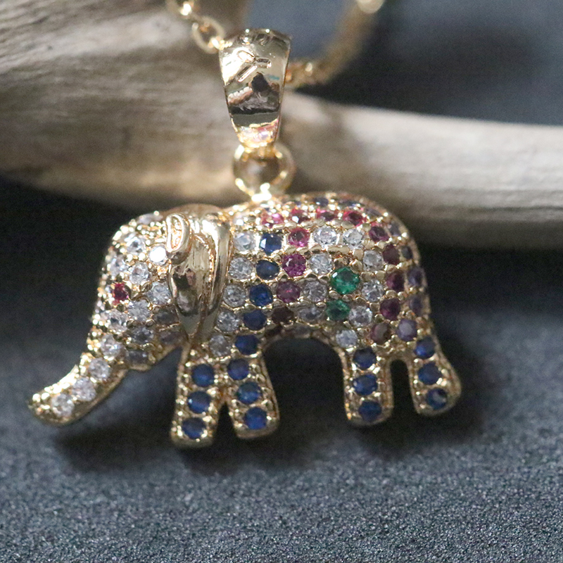 Zircon Multicolor Elephant Necklaces For Women Copper Rose Gold Pendant Necklace Choker Collier Bijoux Femme Clavicular Chain