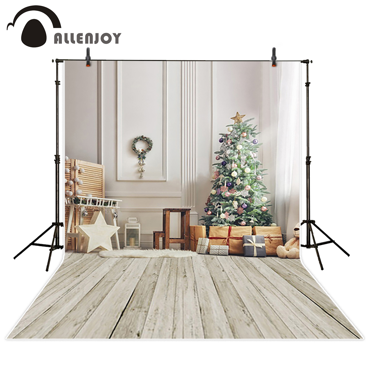 Allenjoy vinyl backdrops for photography backdrop Gift Christmas tree White Christmas Background for photo vinyl