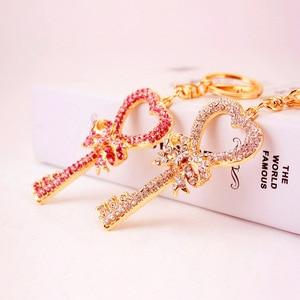 Cute Rhinestone Little Angel Car keychain fake Fur Key Chain Women Trinket Car bag Key Ring Jewelry Gift fluff keychains(China)