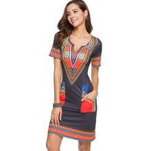 83cb84517 Plus size vintage print fashion office dashiki dress 2018 short sleeve  summer sexy v neck pocket