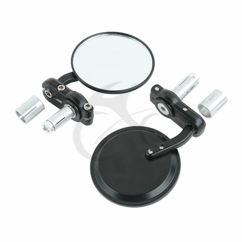 2x Chrome Round Bar End Rearview Side Mirror Adjustable For Cafe Racer US