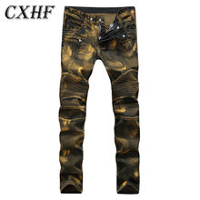 Biker Jeans Stereo Clipping Folds Of Locomotive Yellow Nostalgia Slim Jeans Wrinkles Leisure Fashion Print