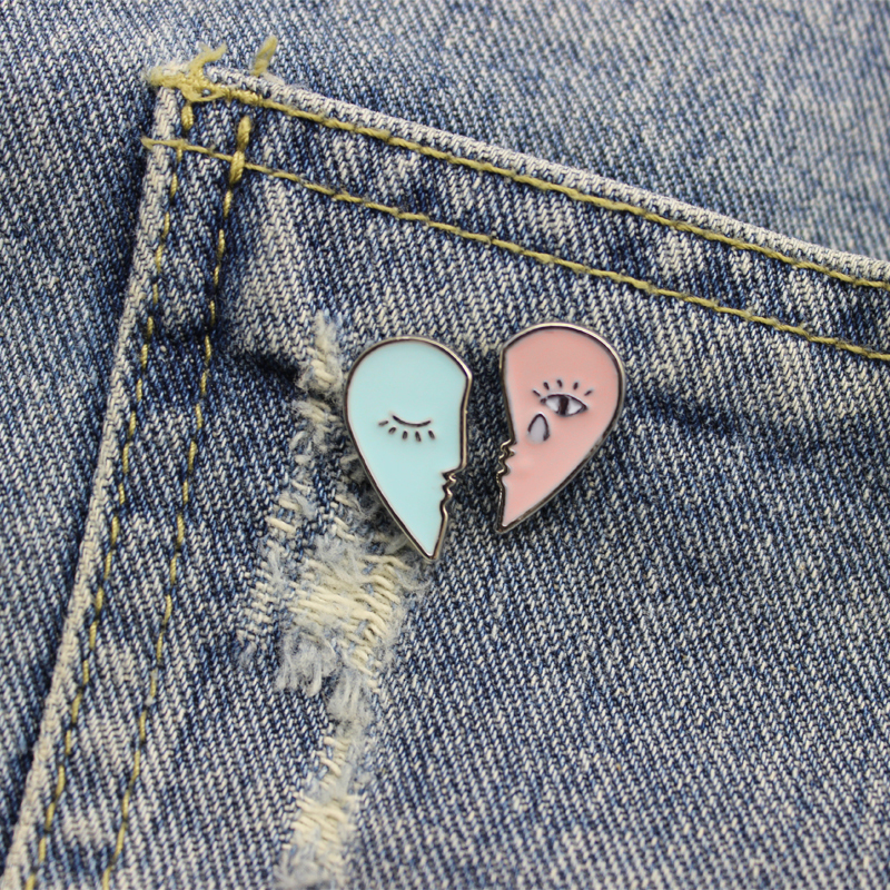 Lovely Enamel Love Heart Swimming Pool Badge Collar Lapel Brooch Pin Jewelry Wor