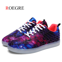 ФОТО roegre men casual shoes spring summer mesh lovers shoes breathable fashion light up glowing luminous shoes usb charged shoes