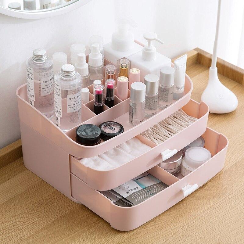 Double tiroir multi-couche boîte de rangement cosmétique bureau soins de la peau boîte de finition bureau armoire de rangement