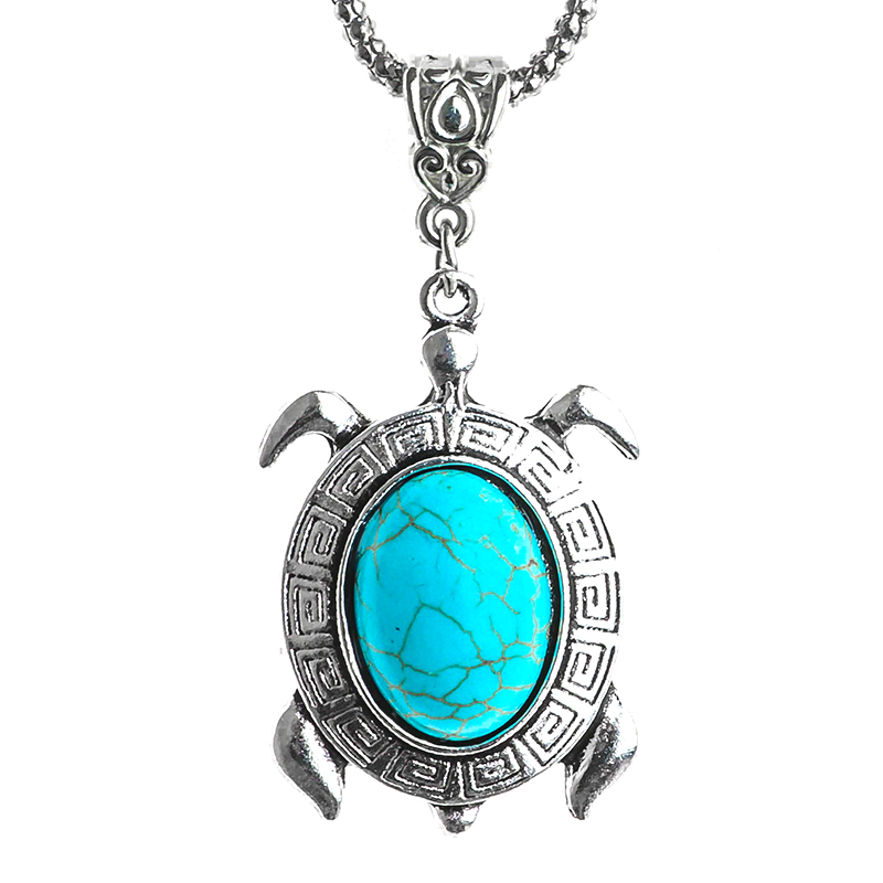 QCOOLJLY Special Stone Necklaces Silver Chain Turtle Pendant Chain Accessories for Womens Clothing Women Vintage Jewelry