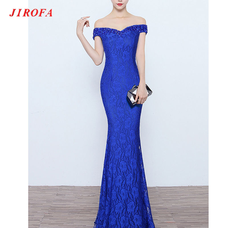 JIROFA Robe Femme ฤดูร้อนชุดพรรค Elegant ฤดูร้อน V คอคอ Slash เซ็กซี่สีฟ้าลูกไม้ Bodycon Vestidos-ใน ชุดเดรส จาก เสื้อผ้าสตรี บน AliExpress - 11.11_สิบเอ็ด สิบเอ็ดวันคนโสด 1
