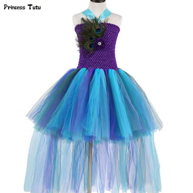 8646648ae99 Girls Peacock Princess Tutu Dress Children Kids Pageant Wedding Party Ball  Gowns Trailing Feathers Tulle Flower Girl Dresses