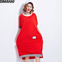 Dimanaf زائد حجم الصيف نمط اللباس المرأة فساتين القطن الإناث عارضة خليط 2017 تظهر رقيقة الأحمر هول طويل أنيق shirt