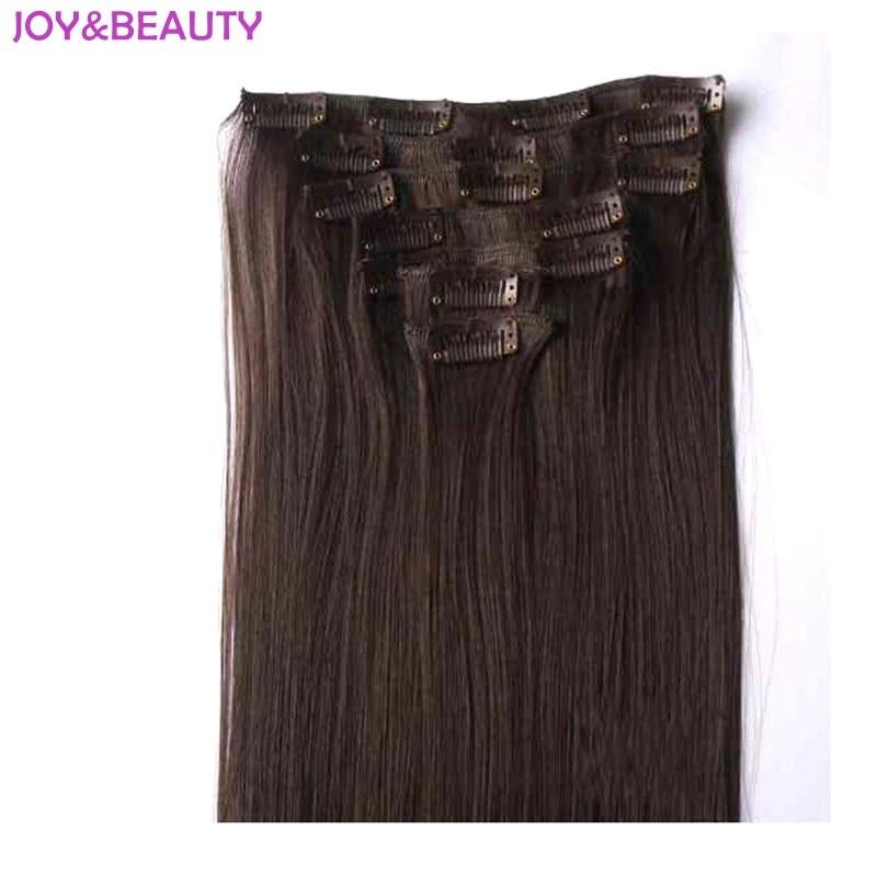 Glädje och skönhet Långgående syntetisk klämma i hårförlängning Värmebeständigt hår 24inch 140G klämmer False Hairpieces Gratis frakt