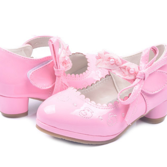 Aercourm A  2018 Children High-heeled Shoes Fashion Princess Shoes Girls White pink Students Perform Shoes Party dance 26-37