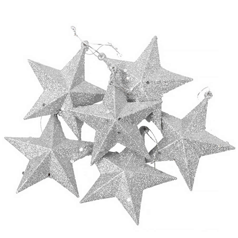 6pcs With Gold Powder Lightweight Christmas Tree Five-pointed Star Plastic Mini Decorations Festival Cute