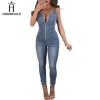 HAMBELELA Women Denim Jumpsuits Elegant Overalls Women Sleeveless Backless Sexy Skinny Jeans Jumpsuit Long Pants Rompers Femme