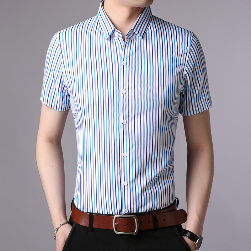 100% Wahr 2019 Mode Marke Hemd Mann Gestreiften Taste Japanischen Schlank Fit Straße Tragen Kurze Sleev Sommer Workout Baumwolle Casual Herren Kleidung