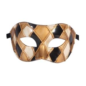 Горячая Арлекин Маскарад Танцевальная вечеринка маска уникальная мужская Венецианская проверенная маска - Цвет: black gold