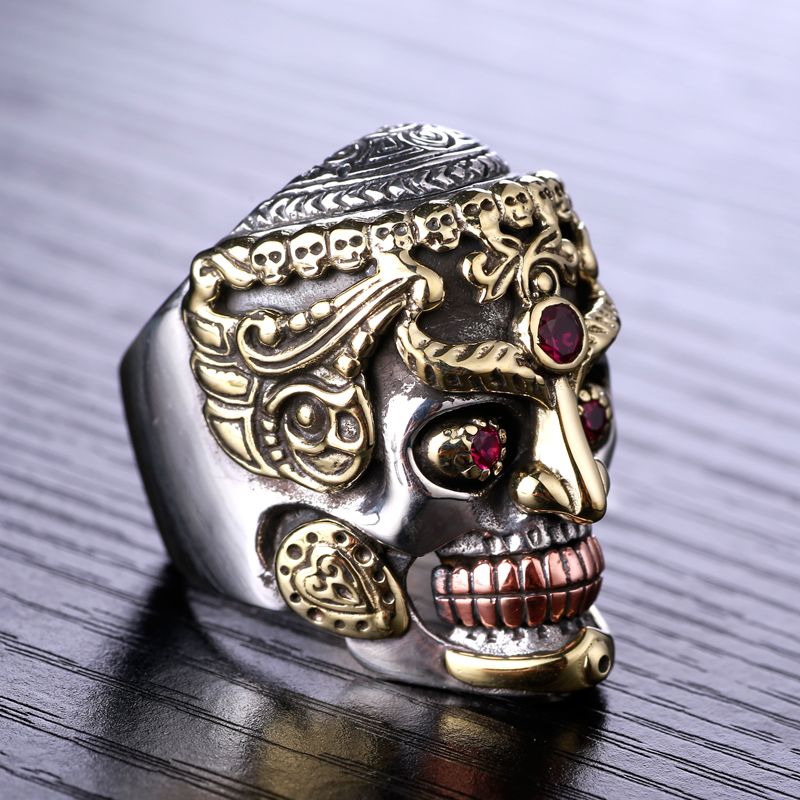 S925 Silver Skull lucky ring ring punk man retro silver jewelry trendsetter domineering personality s925 sterling silver skull ring metrosexual officers personality of world war ii punk man retro silver ring opening