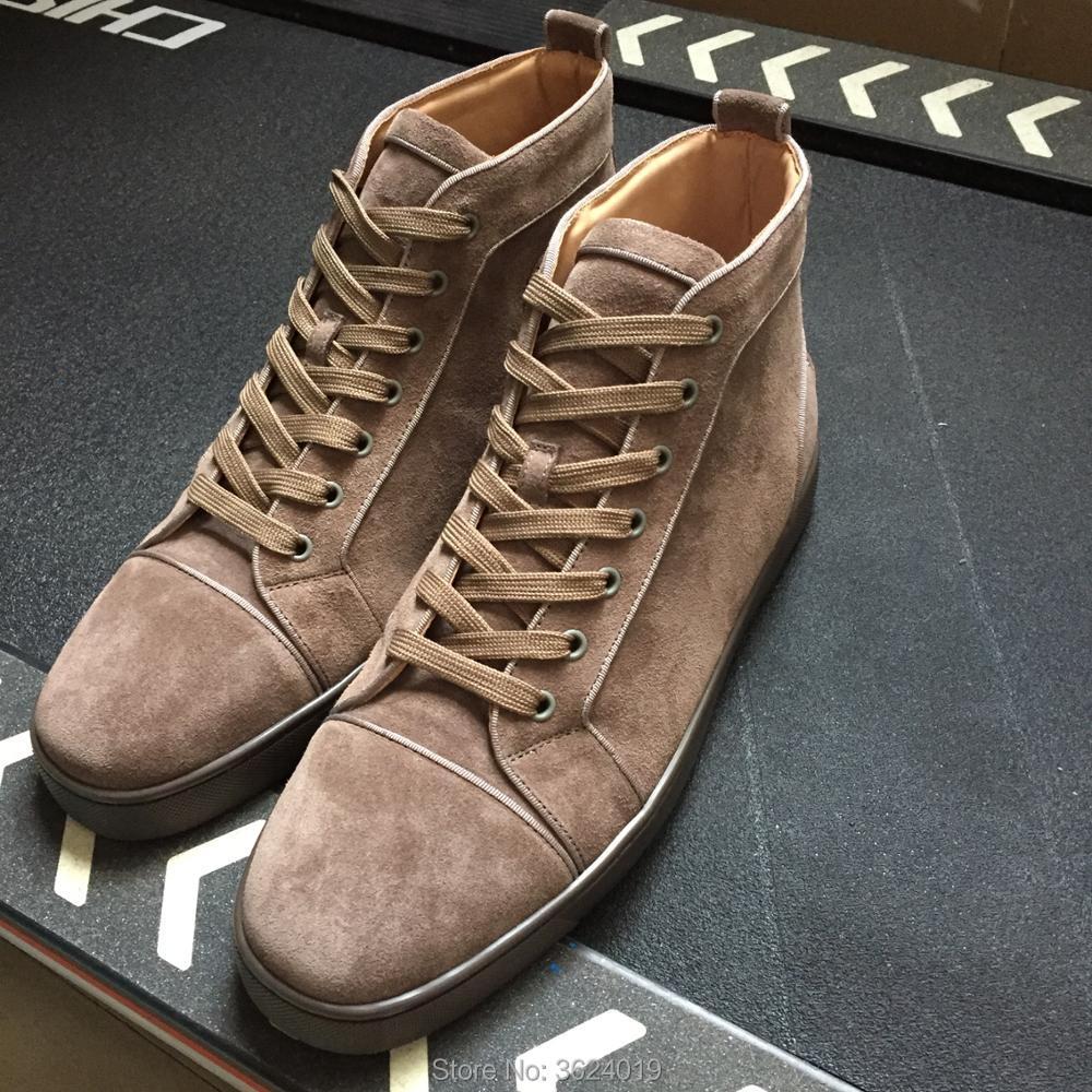 e7187ed0da30 clandgz Men high heel shoes Khaki Lace-up Men Rivets Shoes Fashion Party  Red bottom