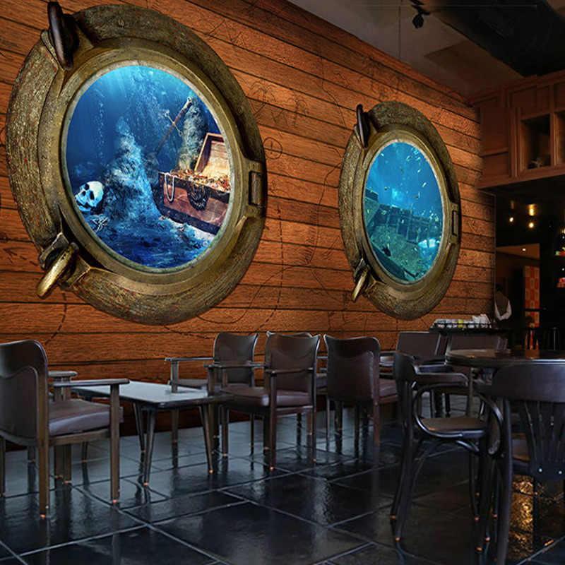 Kustom 3D Stereo Bajak Laut Kayu Lukisan Dinding Wallpaper Petualangan Retro Tema Bar Restoran Kedai Kopi Wallpaper Non Woven Dekorasi Rumah