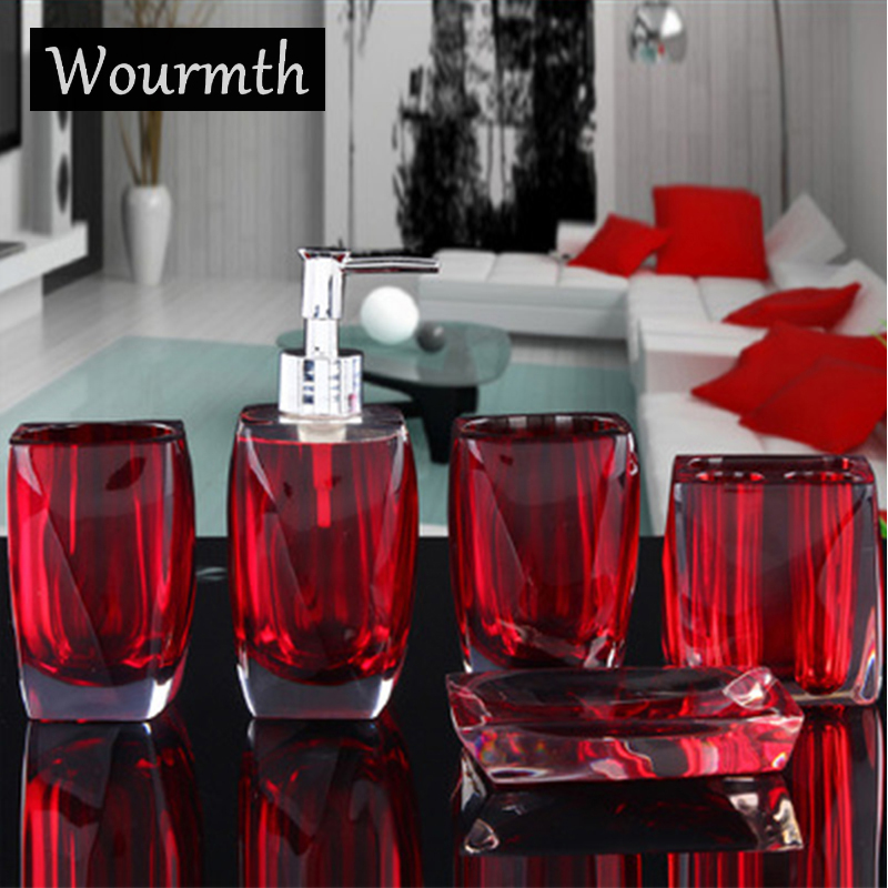 Wourmth bath utensil set Glaze creative contracted set bath suit bathroom ceramic sanitary ware 5pcs bath