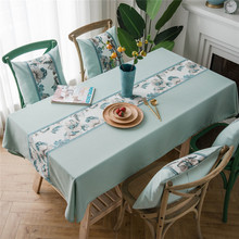 Home Coffee Bar Decorative Table Cloth Waterproof Cotton Linen Light Color Tablecloth Rectangular Kitchen Dining Cover